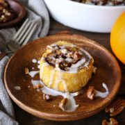 Gluten Free Pumpkin Pecan Cinnamon Rolls | These gluten-free pumpkin pecan cinnamon rolls are refined sugar-free, and can easily be adapted to be dairy-free. With a coconut milk glaze, these cinnamon rolls make for the perfect holiday treat that also happens to be healthy! Find recipe at redstaryeast.com.