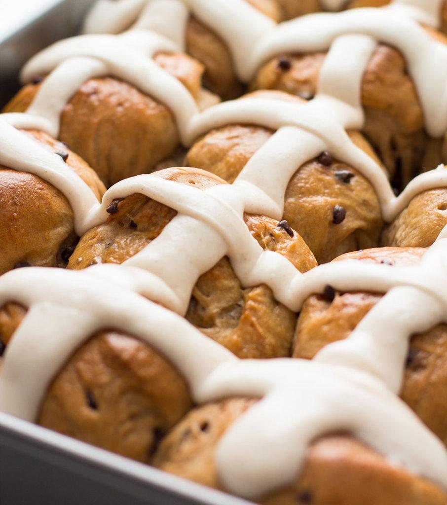 Chocolate Chip Hot Cross Buns recipe
