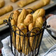 Sweet Pretzel Sticks with Strawberry Cream Cheese Dip | These soft pretzels are a fun-to-make, fun-to-eat snack that's perfect for after school or even dessert. The smell of these pretzels baking is sure to make anyone's day brighter. Find recipe at redstaryeast.com.