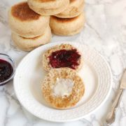 Four Grain English Muffins | Homemade English muffins filled with nooks and crannies, perfect for holding butter & jam. Find recipe at redstaryeast.com.