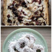 One Dough, Two Ways: Pizza and Doughnuts | This simple dough recipe is adaptable for either pizza at night or doughnuts in the morning. This recipe is for a classic tarte flambée and an even more American classic, powdered doughnuts. Find recipe at redstaryeast.com.