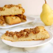 Pear and Pecan Streusel Focaccia | This sweet focaccia is great for breakfast, brunch or snack-time. Airy, chewy focaccia bread is lightly sweetened with a topping of fresh pears and brown sugar-pecan streusel. Find recipe at redstaryeast.com.