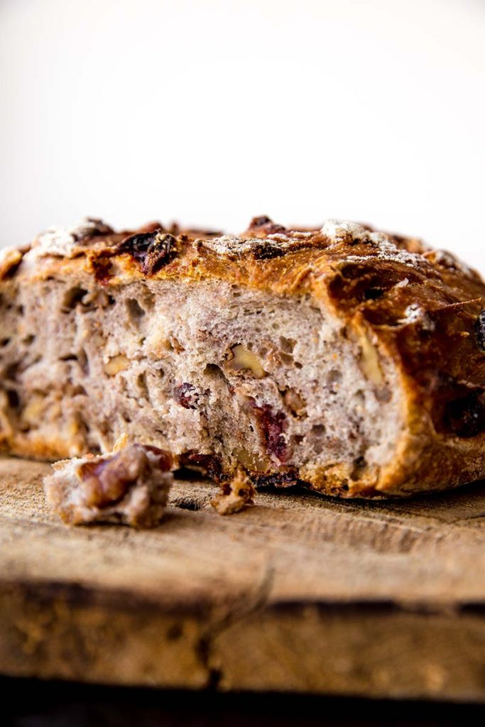 No Knead Crusty Cranberry Nut Bread