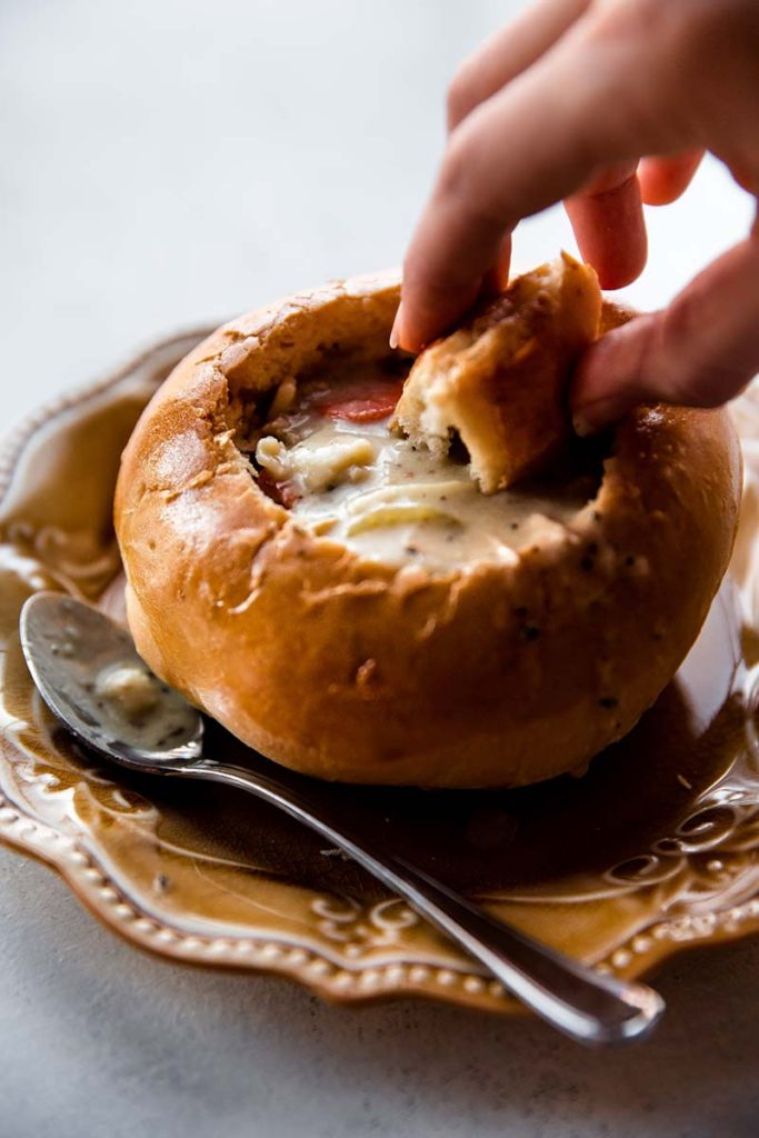 Homemade Bread Bowls   Make deliciously soft and crusty homemade bread bowls with this recipe. This is a basic bread dough recipe you can use for dinner rolls, too! Find recipe at redstaryeast.com.