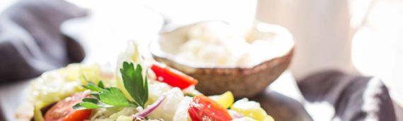 Gluten Free Greek Salad Naan Pizza