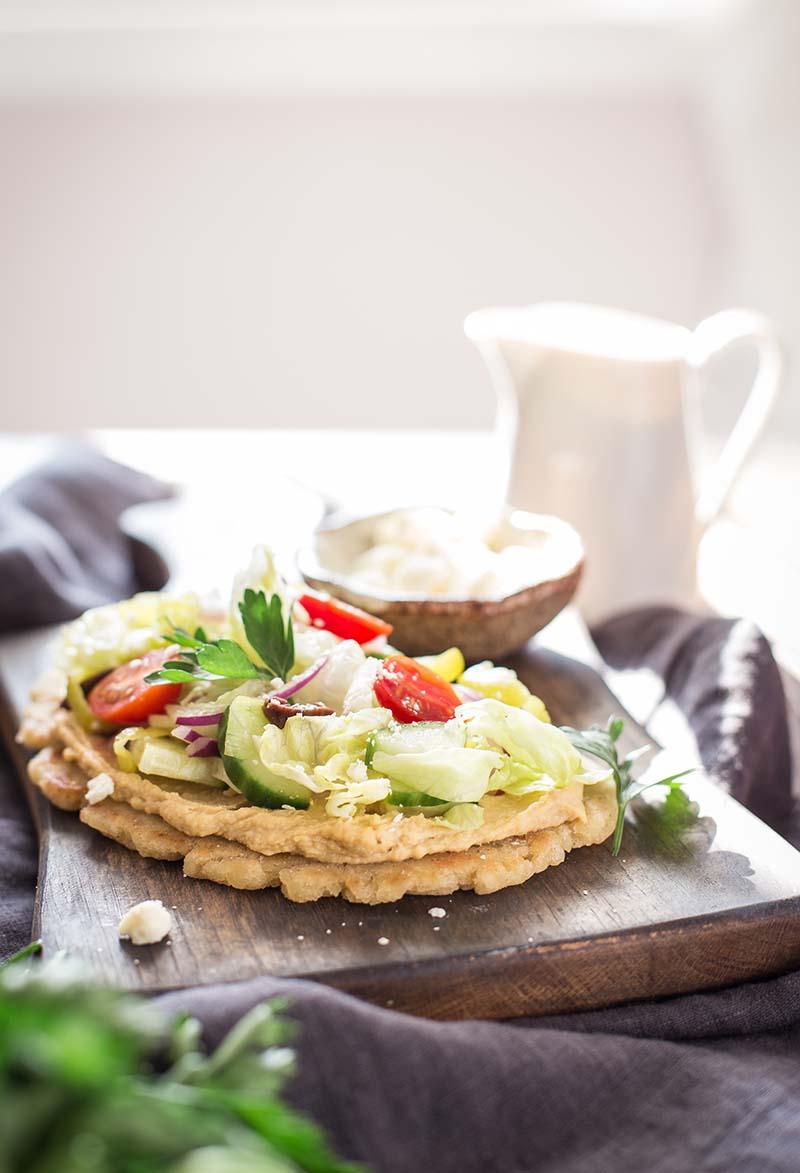 Gluten Free Greek Salad Naan Pizza recipe | Red Star Yeast