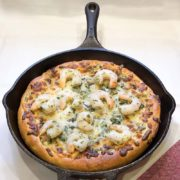 Spinach & Artichoke Crispy Skillet Pan Pizza with Garlic Butter Herb Shrimp | Tender, buttery, crispy skillet pan pizza topped with a creamy spinach & artichoke cheesy béchamel topping and mouth-watering garlic butter herb shrimp! Step up your pizza night with this amazing recipe! It's all about that crust! Find recipe at redstaryeast.com.