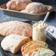 "Authentic Ciabatta Bread | Make authentic ciabatta bread at home with this recipe! Ciabatta bread is a classic Italian style bread that translates to mean ""slipper bread"" due to the shape of the loaves. Ciabatta is a chewy and uniquely moist bread made with a preferment called a biga, which greatly enhances the flavor of the bread. Find recipe at redstaryeast.com."