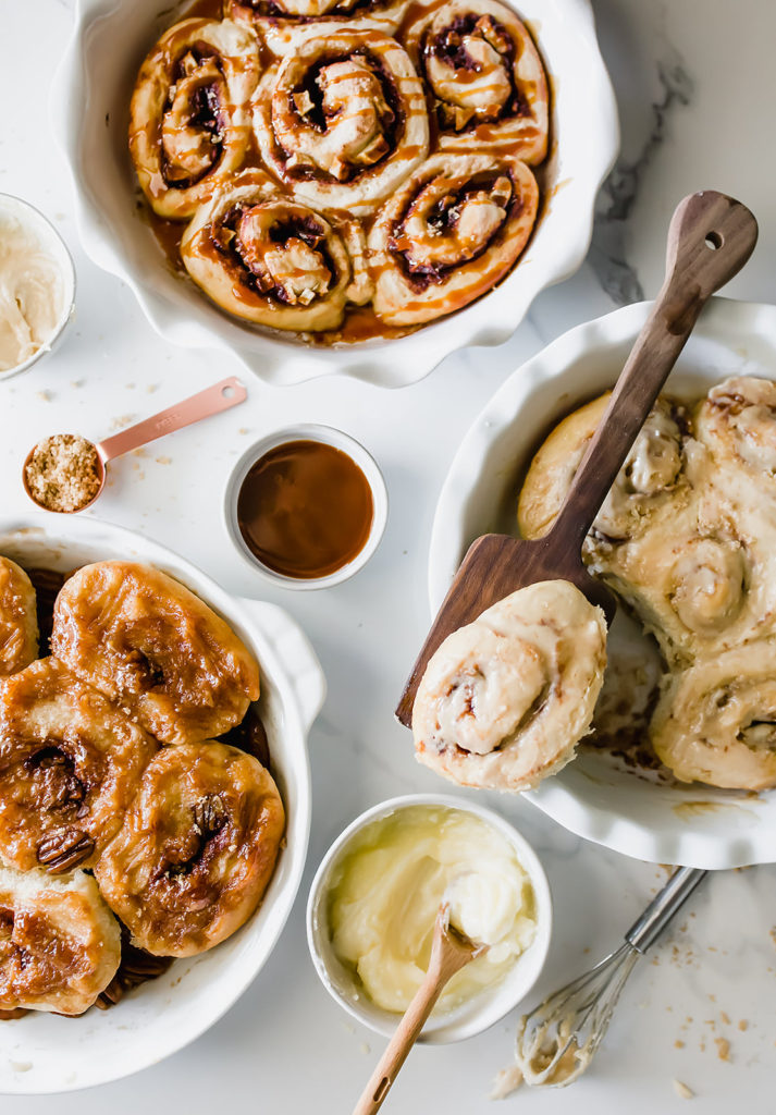 These 3 Easy Cinnamon Roll recipes including caramel apple, banana bread, and sticky pecan are perfect for fall and surprisingly simple to make from scratch! Find recipe at redstaryeast.com.