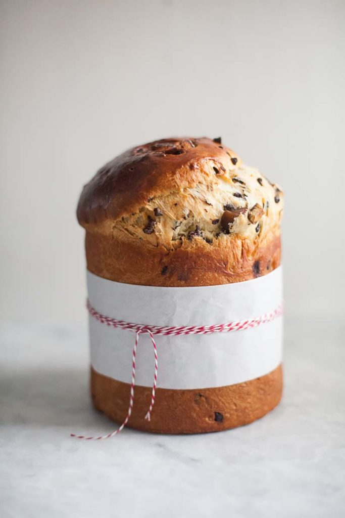 Chocolate Chestnut Bread | This elegant bread is super easy to make. If you have a tall panettone mold, it makes a really festive loaf for the holidays or a great gift. You can also bake this in a loaf pan or even muffin cups. Find recipe at redstaryeast.com.