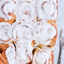 Overnight Brioche Cinnamon Rolls | These sweet yeast rolls feature brioche dough, a classic cinnamon-sugar filling, and delicious vanilla bean frosting! Prep the rolls in advance and bake in the morning to begin the day with freshly baked cinnamon rolls. The whole family will love this recipe for weekend brunch! Find recipe at redstaryeast.com.