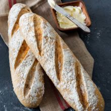 Classic French baguettes made with Platinum Instant Sourdough Yeast by Red Star offer the familiar crust and soft interior of traditional baguettes but yield a more intense flavor profile. For a truly French experience, slice the bread in half lengthwise and create a jambon fromage (ham and cheese) sandwich. Find recipe at redstaryeast.com.
