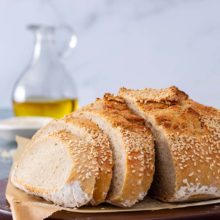 Semolina flour is common in Italy and the preferred flour for making pastas. It gives bread a denser and richer feel. Toast and serve with high-quality butter for a special treat. Made with Platinum Instant Sourdough Yeast. Find recipe at redstaryeast.com.