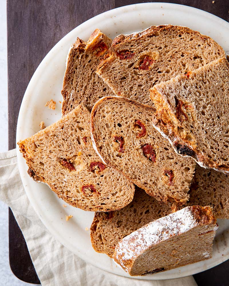 Perfect for sandwiches or snacking, this whole wheat bread is packed with plenty of Parmesan and sun-dried tomatoes for a cheesy and salty punch. Find recipe at redstaryeast.com.