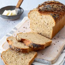 Seeded Sprouted Wheat Loaf | A touch of honey and a medley of pumpkin, flax, sesame, and poppy seeds make for a nutrient-dense, wholesome bread that's ready to be used for sandwiches, breakfast items, and more. Find recipe at redstaryeast.com.