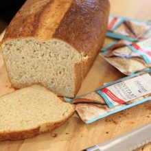 Platinum Instant Sourdough Semolina Brioche | This is a delicious, soft buttery pan loaf that is great sliced as a decadent sandwich bread (hello PB and J!) or shaped into amazingly tender dinner rolls. Semolina, a variation of durum wheat flour, adds a delightful nuttiness and texture to this french staple. Find recipe at redstaryeast.com.