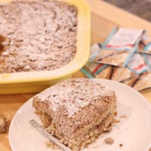Platinum Instant Sourdough Spiced Coffee Cake | This delicately spiced coffee cake is leavened with yeast instead of baking powder, which makes for a longer prep time but more than makes up for it in complex flavor. The crumble is laced with spicy candied ginger which bakes up soft in the coffee cake and adds a nice little kick to this delicious treat. Find recipe at redstaryeast.com.