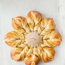 Pumpkin Star Bread | Filled with pumpkin filling and sprinkled with sanding sugar, this star bread is one of the prettiest, easiest and most sensational breads to make for a family gathering or work party. Find recipe at redstaryeast.com.