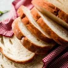 Simply Sandwich Bread | Learn how to make simple white sandwich bread using a few baking ingredients like flour, water, yeast, salt, and milk. This recipe yields 1 loaf, so it's perfect if you only have 1 loaf pan. Recipe at redstaryeast.com.