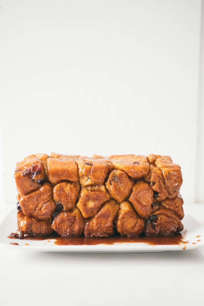 Panettone Monkey Bread | This bread is studded with orange and cranberry (or the dried fruit of your choice) and then coated in sugar and cinnamon. It's easy and beautiful, and a perfect addition to your holiday dessert table. Find recipe at redstaryeast.com.