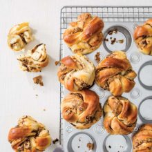Peanut Butter - Chocolate Babkas | These dreamy baby babkas are filled with creamy peanut butter and melted pieces of chocolate, so you can twist and bake them up for breakfast or dessert. The best part? Shaping them is a breeze. You may never go back to the traditional braided loaf again. Find recipe at redstaryeast.com.