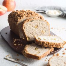 Apple Oat Bread | Is there anything more comforting than the unmistakable aroma of a loaf of bread brimming with fresh apple chunks and a symphony of fall spices wafting through the kitchen? We souped up the familiar yeasted apple bread by adding a hefty dose of apple cider for a crisp, tangy kick and a thick Oat Streusel topping for epic crunch. Find recipe at redstaryeast.com.