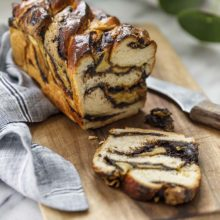 Milk Bread Babka | Made with a soft milk bread dough, this babka has swirls of chocolate and almond cream making it simply irresistible. Find recipe at redstaryeast.com.
