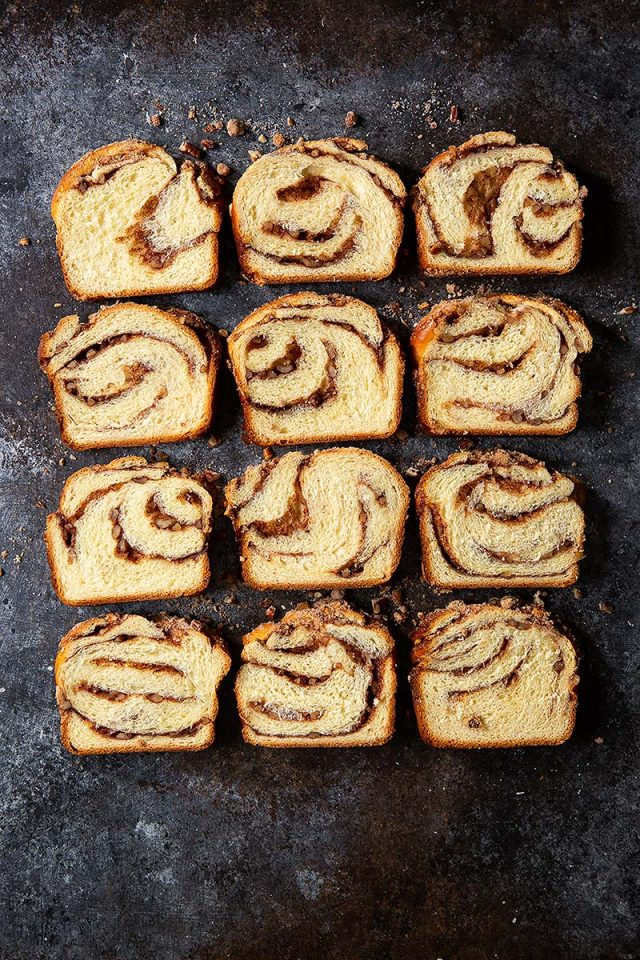 Cinnamon Pecan Streusel Babka | This classic sweet dough is lightly enriched and gets double cinnamon and pecans, once in the filling and then in the streusel on top. Get recipe and shaping video at redstaryeast.com.